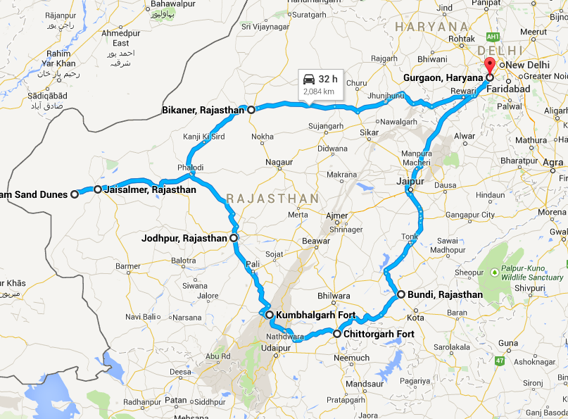 Rajasthan road trip route map