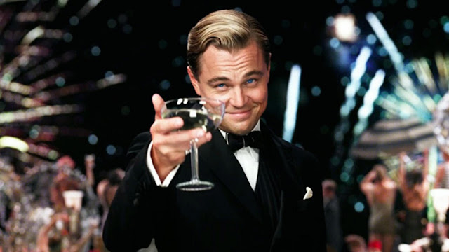 Leonardo DiCaprio in Great Gatsby with cocktail glass