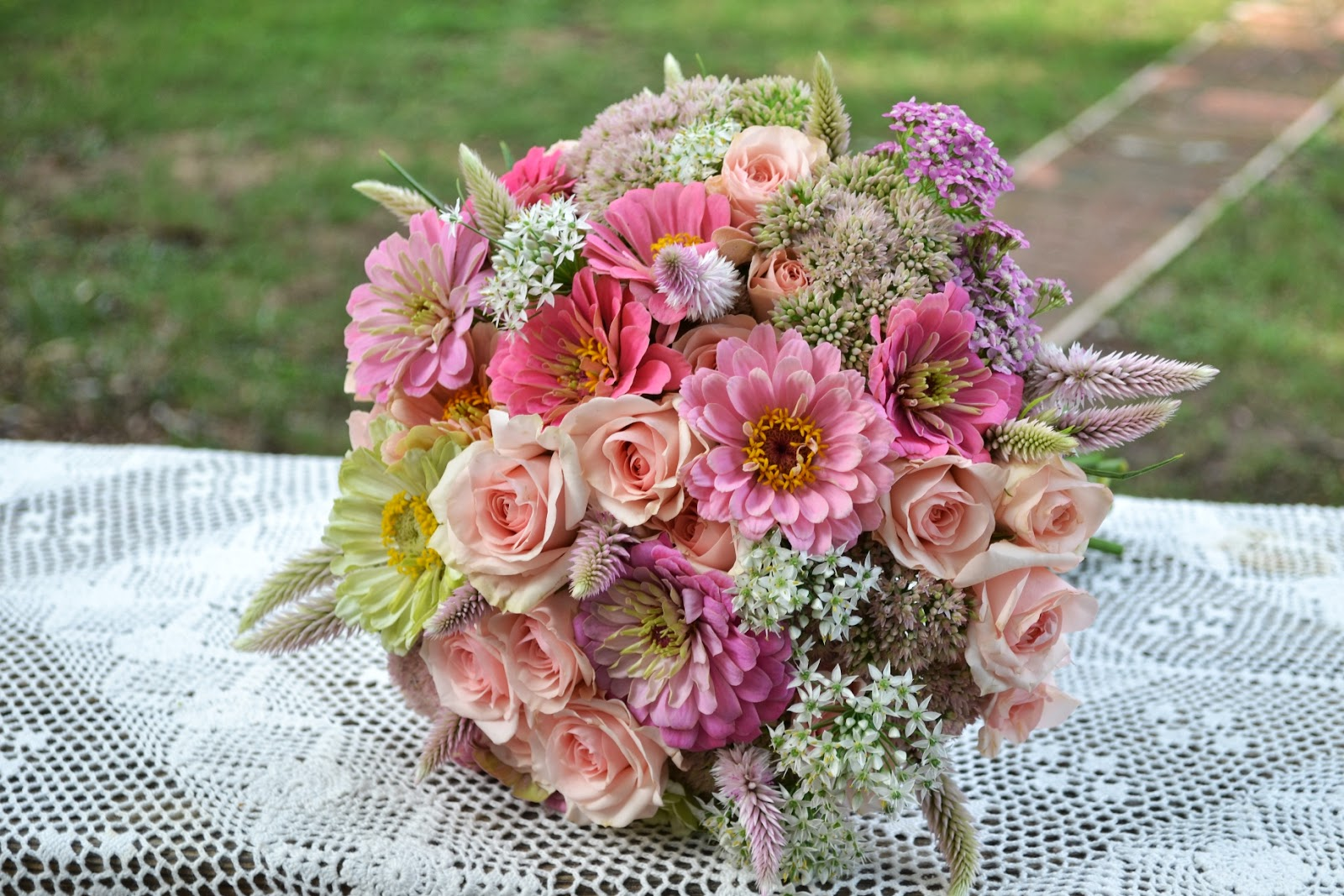Wedding Flowers from Springwell: Pink Zinninas and Roses for a Late ...
