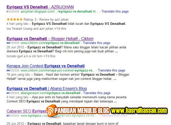 Eyriqazz VS Denaihati | Pemenang SEO Contest