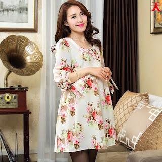 Model baju Dress Hamil Wanita Kerja Motif Bunga