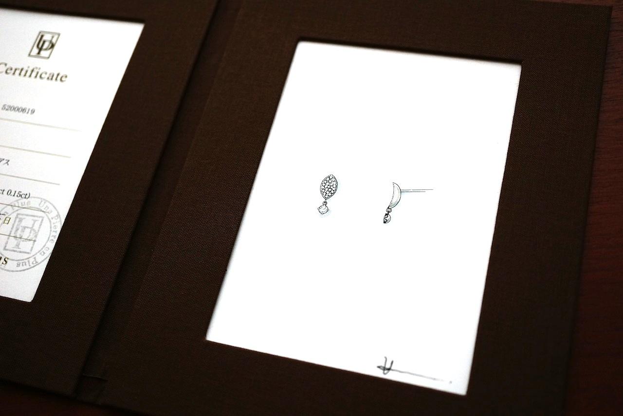 出来上がったリメイク(リ・スタイル)ピアスに添えてデザイン画をプレゼントされました。