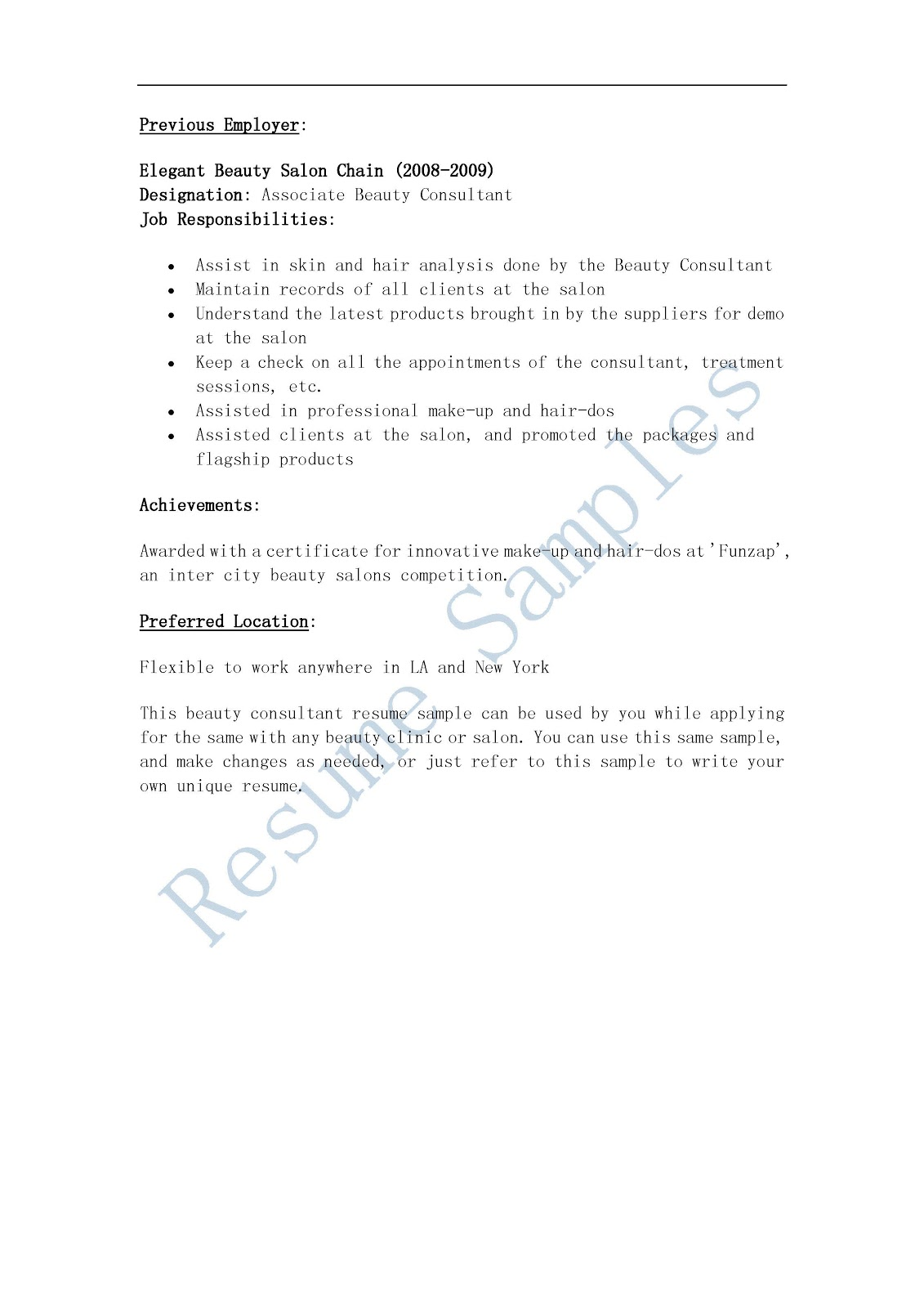 resume samples  beauty consultant resume