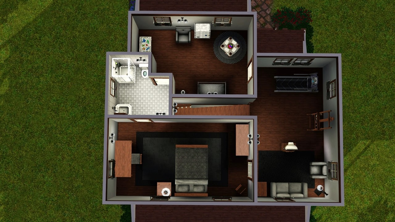 My sims 3 blog 2 bedroom 2 bath house by lalunebleue for Sims 3 6 bedroom house