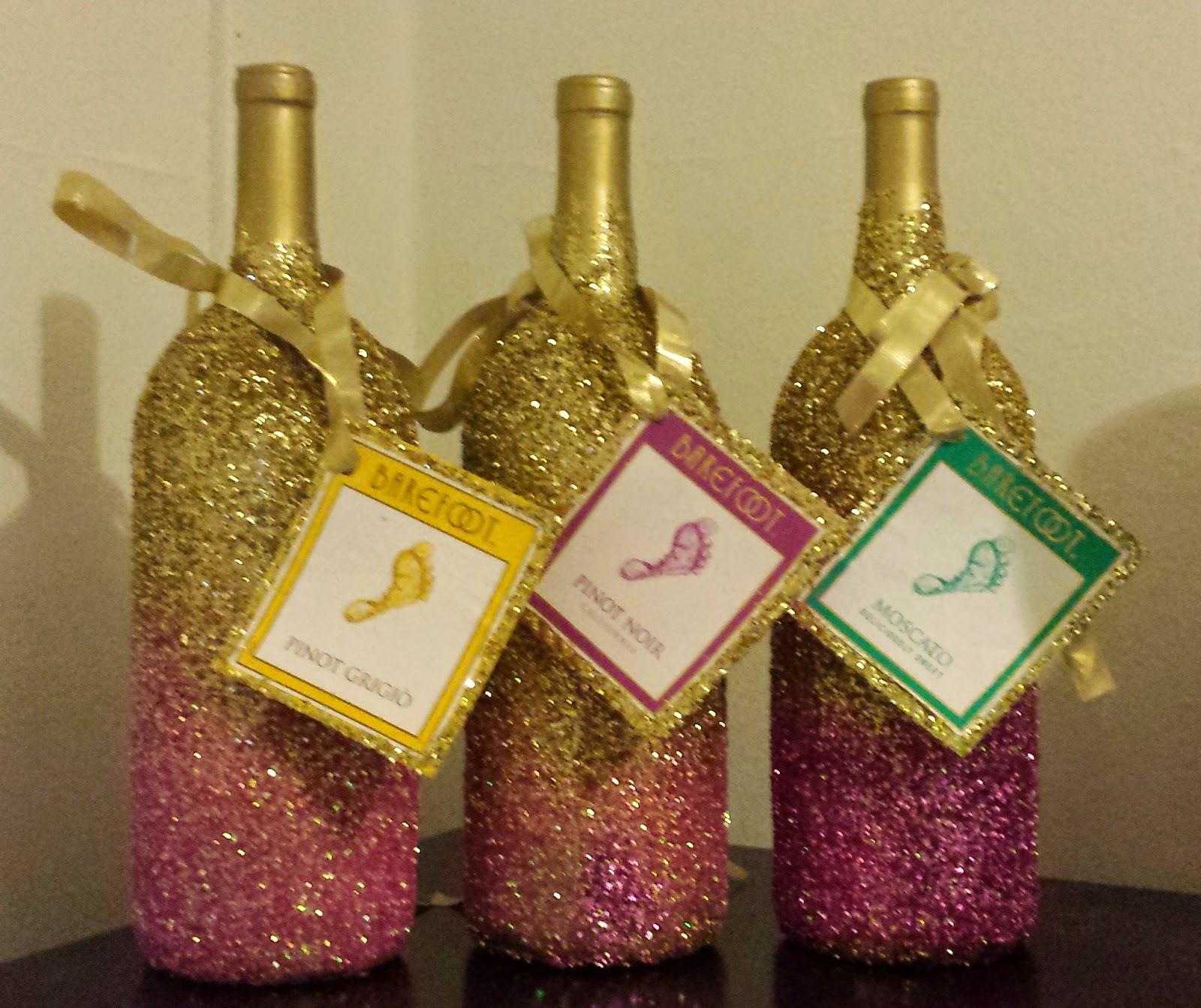 Diy glittery wine bottles blogher for Decorating wine bottles with glitter