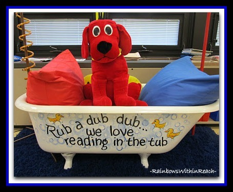 Bathtub Reading Center in Kindergarten Room via RainbowsWithinReach