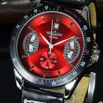 Reloj de Pulsera Roja con Calendario