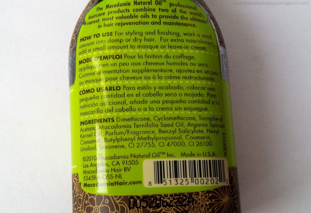 Macadamia oil ingredients