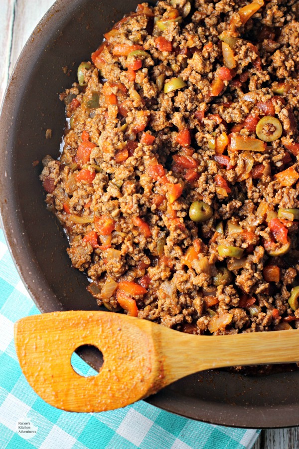 Easy Cuban-Style Beef Picadillo | By Renee's Kitchen Adventures - Easy healthy recipe for flavorful Cuban-Style Beef that is crazy good! #SundaySupper @Beeffordinner