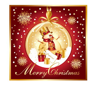 Merry Christmas colorful words with Christmas snowman Christian picture