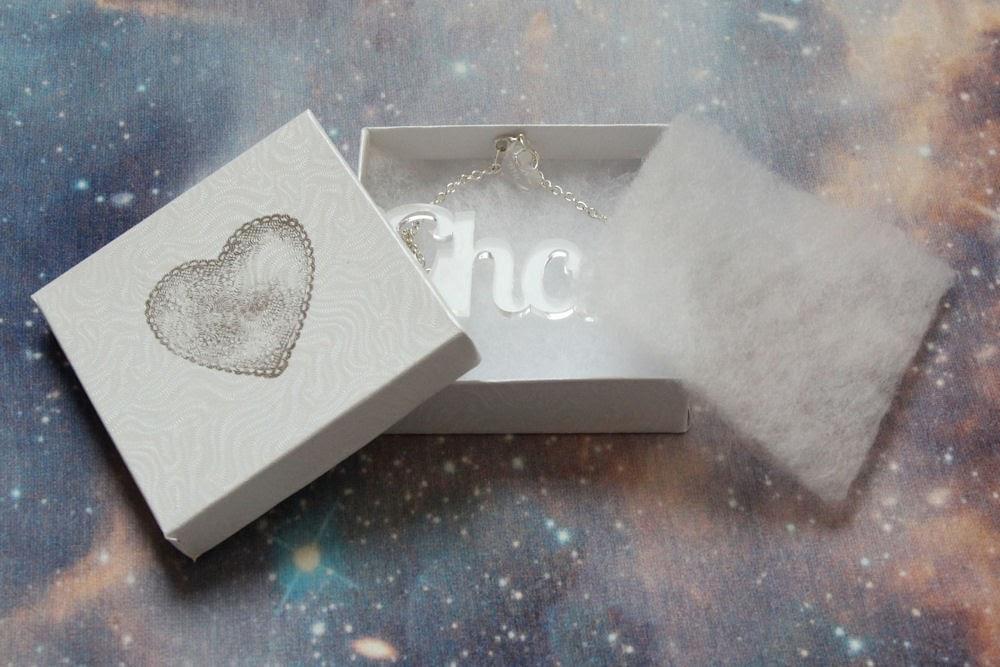 tatty devine affordable alternative cheaper better UK english british ghost plastic perspex name custom customizable customisable necklace kawaii cute black heart creatives