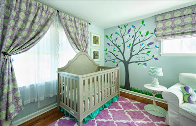 classy baby cribs surrounded by lovely patterns in purple and beautiful wall decoration