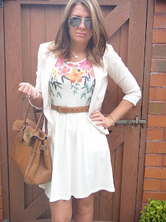summer dress with blazer, Mulberry Bag, H & M Dress, Ray ban sun glasses with summer dress