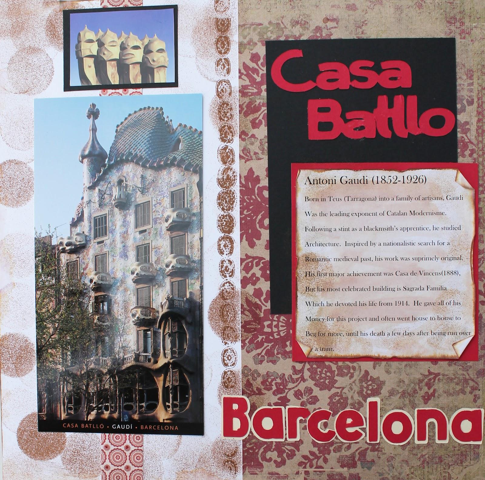 Travel scrapbook ideas - Spain Travel Scrapbook Pages Barcelona