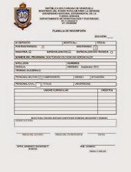 Planilla de Inscripción del termino UNEFA
