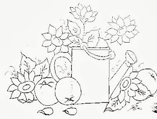 desenho de regador com girassois para pintar