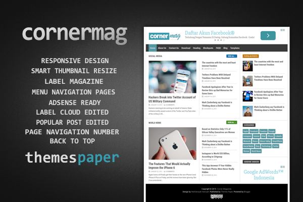 Cornermag - Free SEO Responsive Blogger Template for Magazine Style