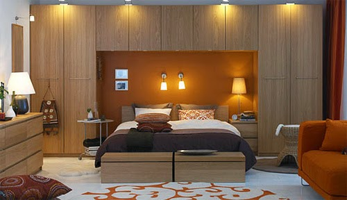 bedroom with orange elements
