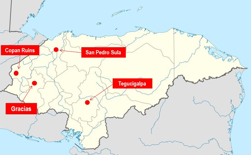 Where Is Honduras Gracias Lempira One Of The Oldest Cities In - Cities map of honduras