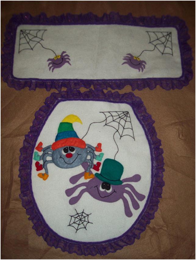 Juegos De Baño Para Halloween:MANITAS CREATIVAS Y ALGO MAS: Tela -Juego de baño -Halloween