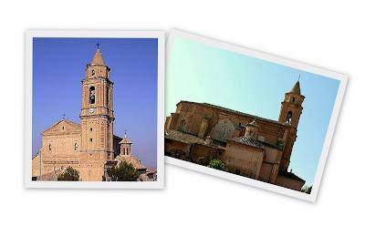 Santa María la Mayor de Híjar, vista de la fachada principal y su perfil desde la antigua judería de Híjar