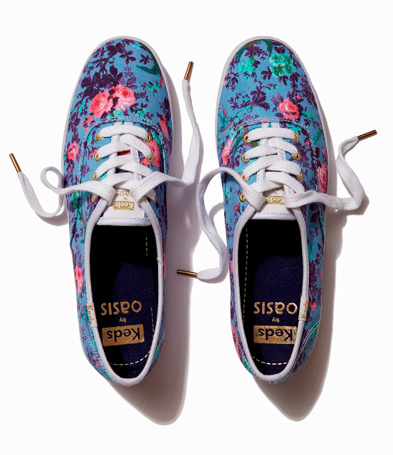 Keds by Oasis floral bird print in a classic lace up sneaker