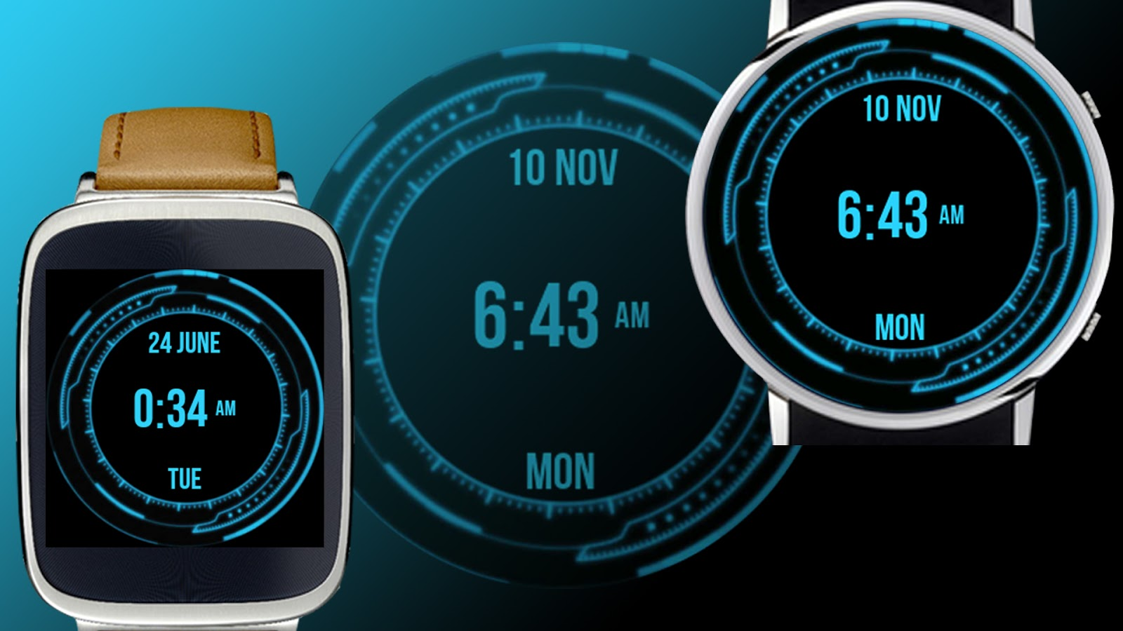 Designer android wear watchface - The Watch Face Has A Futuristic Design And Cool Layout It Has Date Month And Day Display On The Watch Face Itself Here Are Some Of The Features Of Wear