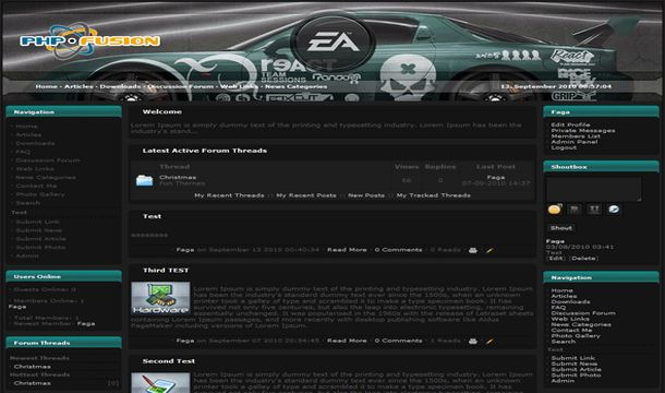 Phpfusion Games Cars Black Theme Template