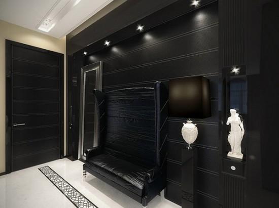 Дизайн прихожей в черно белом стиле фото