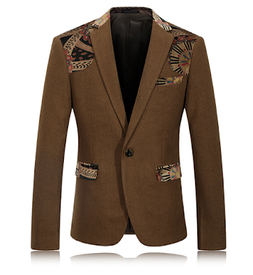 Classic Brown Polyester Artwork Blazer At PerfectMensBlazers.Com