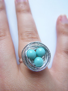 Beaded wire birds nest ring