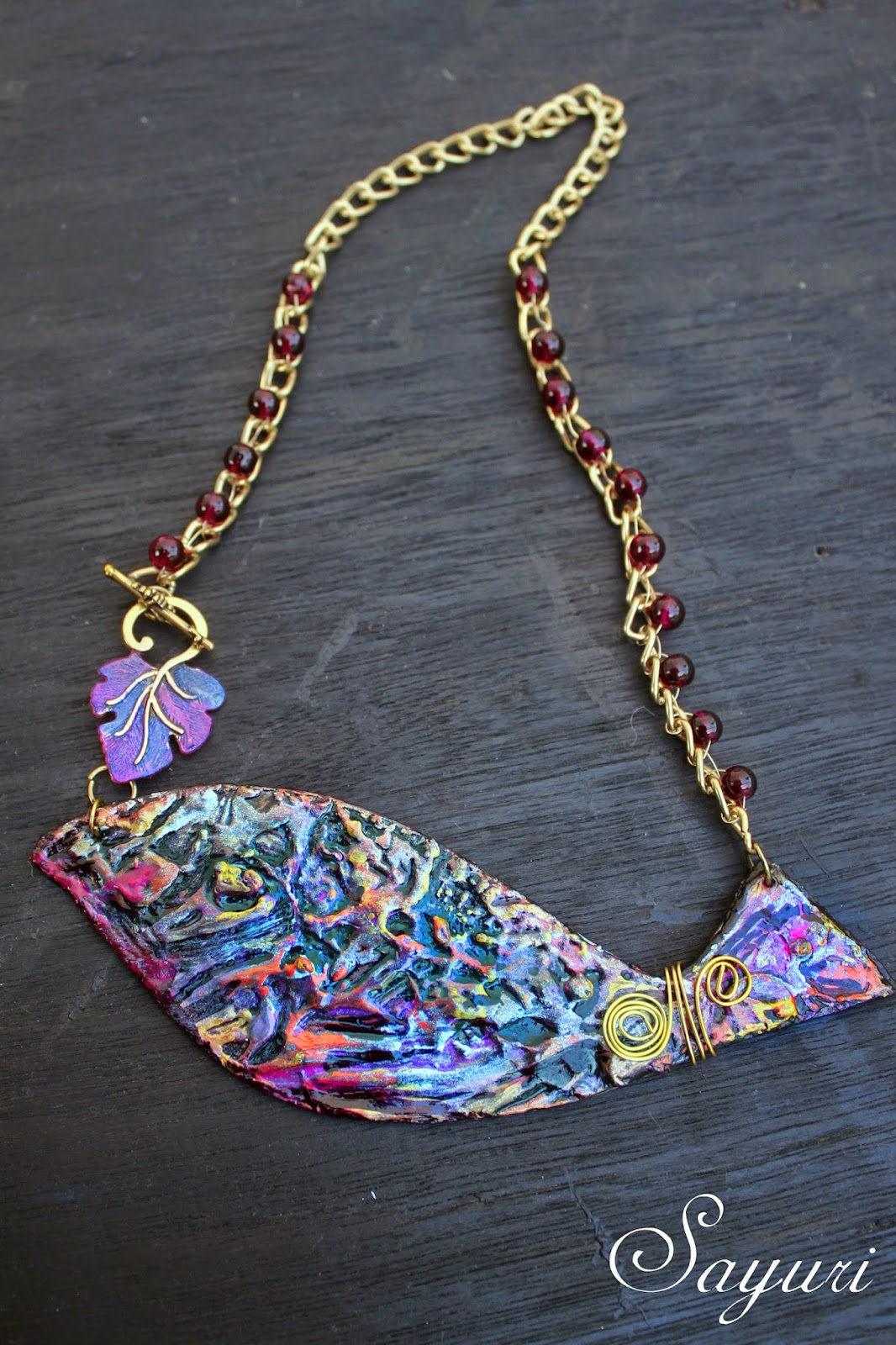 textured paper bib necklace