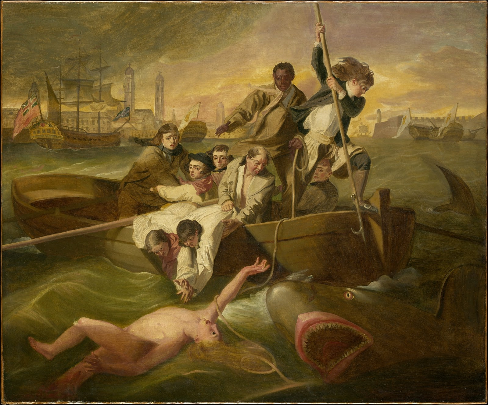 the struggle in watson and the shark a painting by john copley Study 11 race and representation flashcards  watson and the shark john singleton copley  painting has nothing to do with slavery- depicts struggle watson.