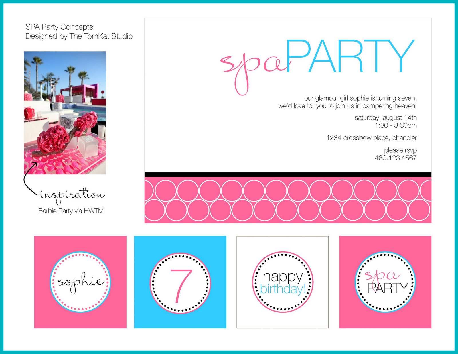 Real Parties Sophies Fabulous Spa Birthday Party – Girls Spa Party Invitations