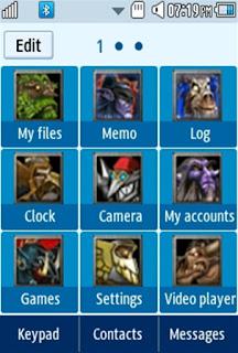 DOTA Arthras Samsung Corby 2 Theme Menu