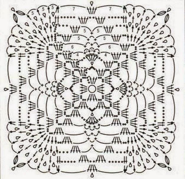Схемы для вязания крючком квадратный мотив 515