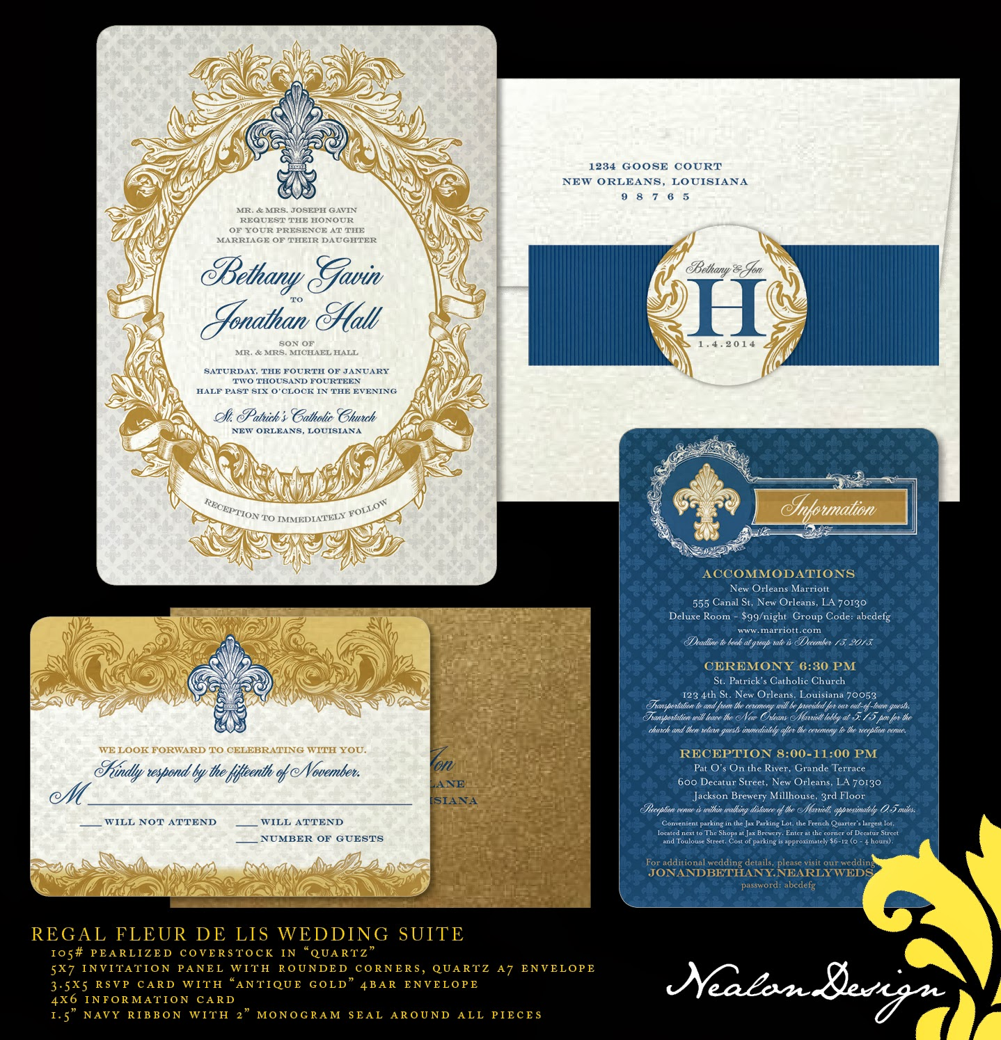 Regal FLEUR DE LIS Wedding Invitation Suite