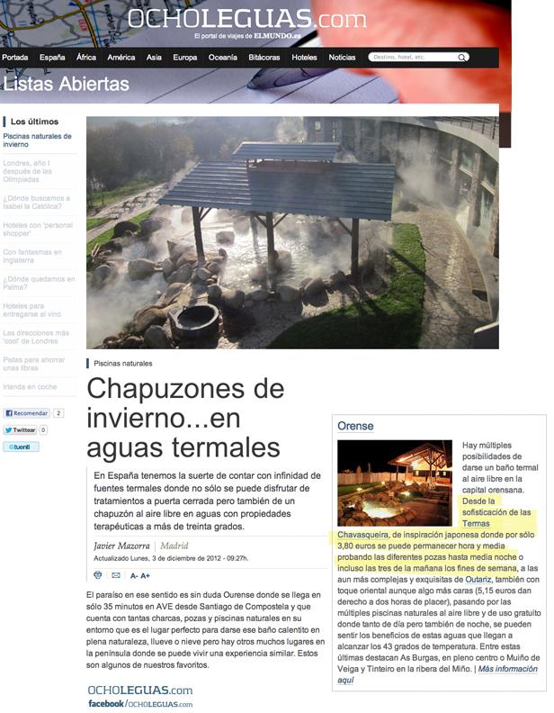 Termas Chavasqueira, Ouresen, agua termal, spa, Ocho Leguas