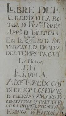 Llibre de Crèdits dels apotecaris Forès