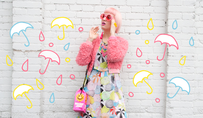 fluffy bomber jacket, neon pink look, iris apfel inspired