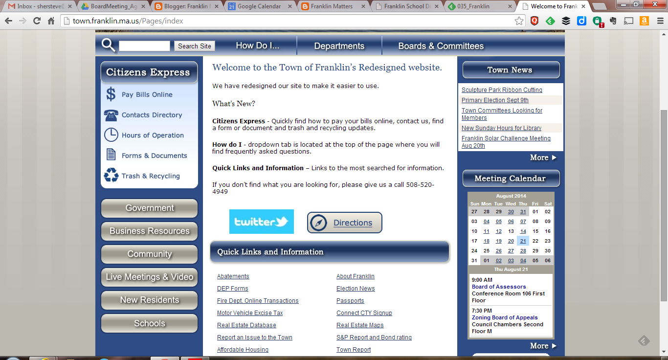screen image of the re-designed Franklin webpage