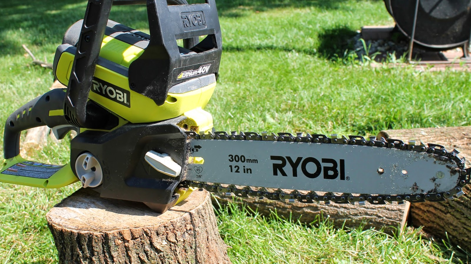 Ryobi 40 volt electric chainsaw review simple suburban living i know what youre thinking because i was thinking the same thing when i purchased this electric chain saw to greentooth Images
