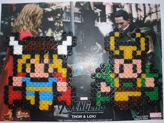 Imanes hechos con Hama Beads de Thor y Locky