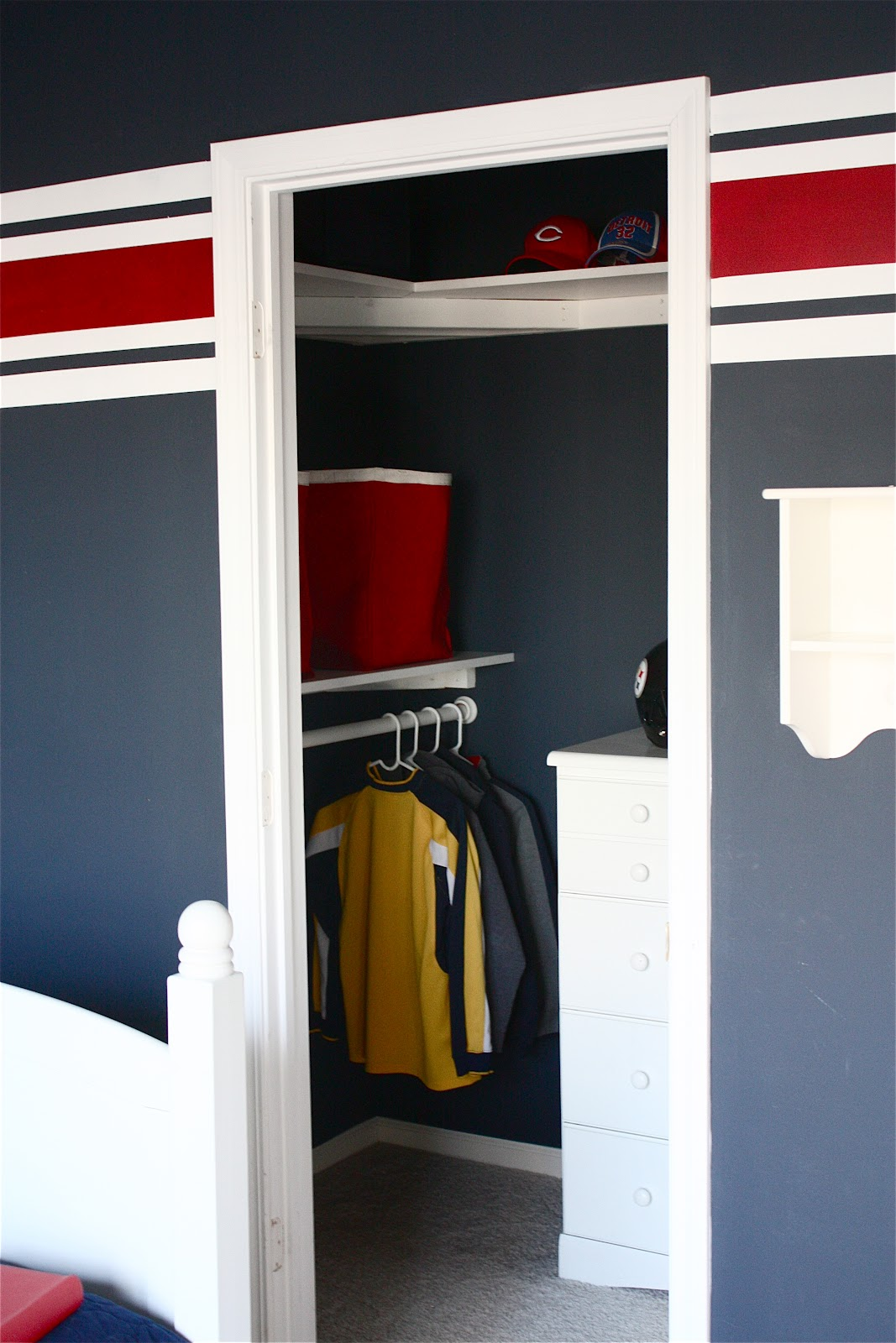 The yellow cape cod makeover monday kids trophy display for Cape cod closet ideas