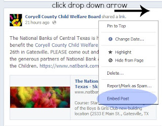 embed menu in facebook drop down post box