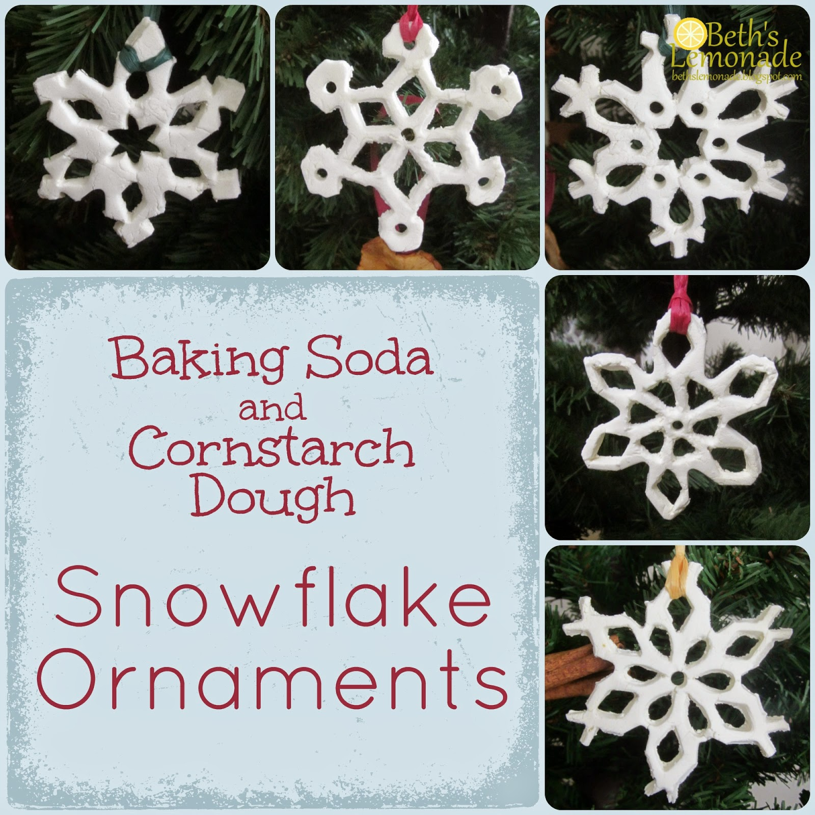 Christmas snowflake ornaments - Rustic Homemade Christmas Tree Baking Soda And Cornstarch Dough Snowflake Ornaments