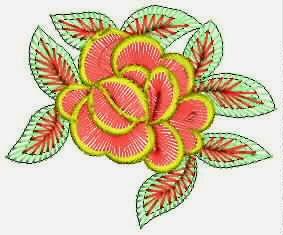 rooi kleur borduurwerk rose blomme ontwerp appliekwerk