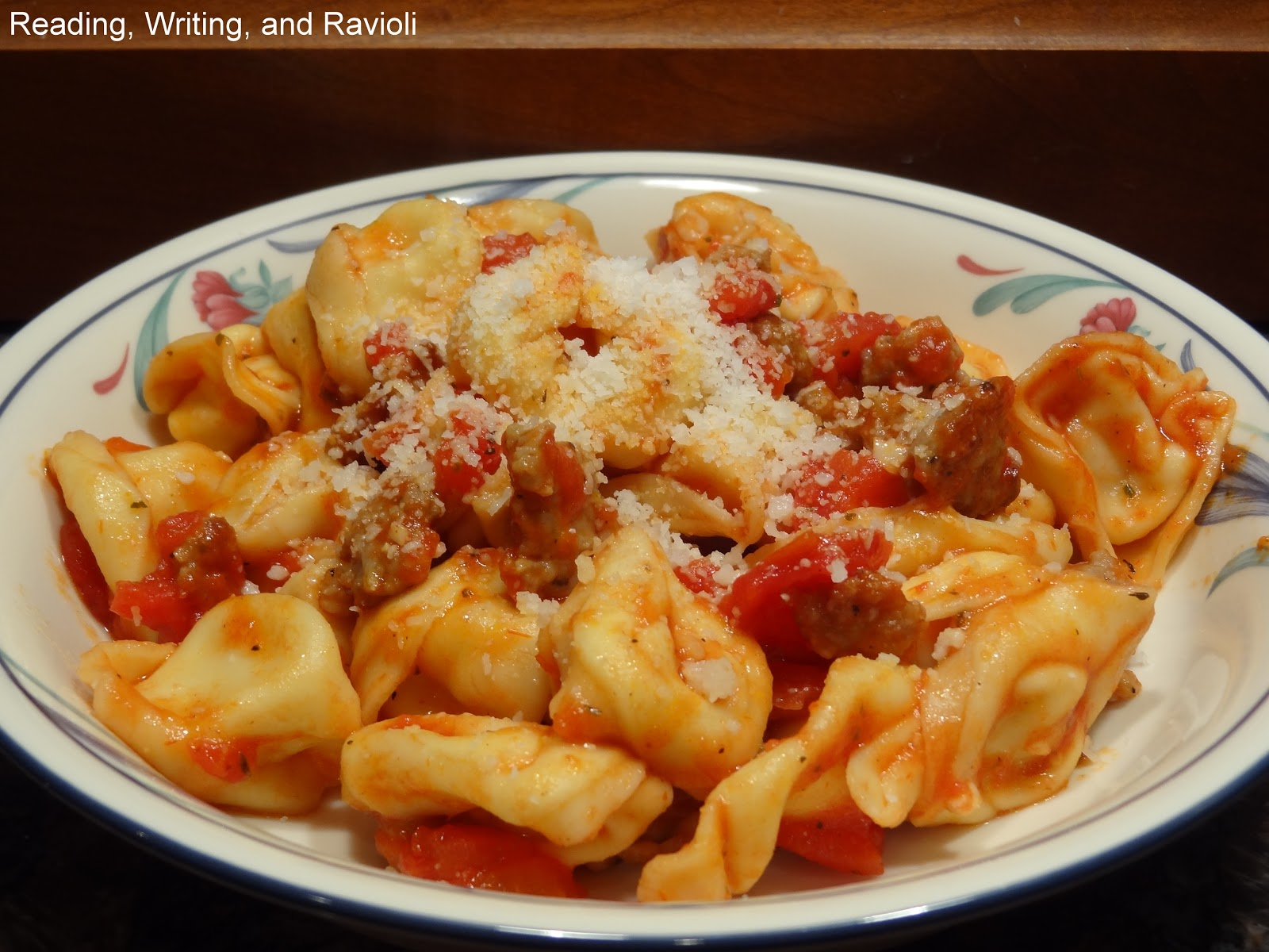 Reading writing and ravioli recipe three cheese tortellini and reading writing and ravioli recipe three cheese tortellini and sweet italian sausage in a simple tomato sauce forumfinder Images