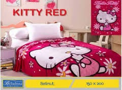 Jual Selimut belladona sutra panel kitty red