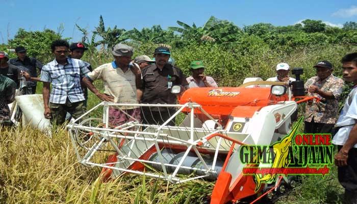 Dinas Pertanian Kotabaru Coba Alat Pemotong Padi